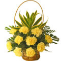 Flowers to Delhi : Send Flowers to Delhi : Yellow Carnation Basket