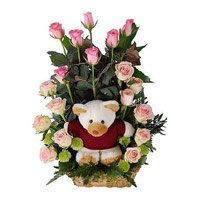 Flower Delivery in Delhi : Pink Roses with Teddy to Delhi