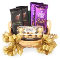 Silk, Bournville and Ferrero Rocher Chocolate Basket, Send Diwali Gifts to Bareilly