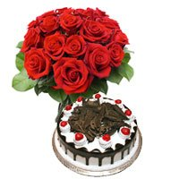 1/2 Kg Black Forest Cake 12 Flowers Delhi Azad Nagar