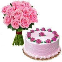 Pink Roses and Cakes to Delhi