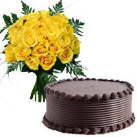 Yellow Roses and Chocolate Cakes to Delhi