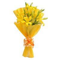 Midnight Flower Delivery in Delhi Same Day : Yellow Lily