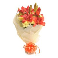 Online Lily Carnation Flowers to Delhi