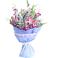 Online Flower Delivery in Delhi - Lily Orchids Bouquet