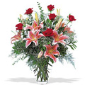 Flowers to Delhi : Send Flowers to Delhi : Pink Lily Red Rose in Vase