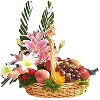 8 Mix Lily with 2 Kg Fresh Fruits Basket