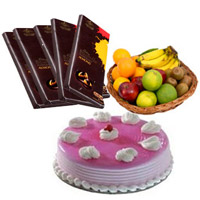 5 Cadbury Bournville Chocolates with 1 Kg Fresh Fruits Basket and 500 gm Strawberry Cake