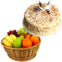 1 Kg Fresh Fruits Basket with 500 gm Butter Scotch Cake
