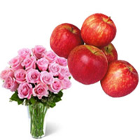20 Pink Roses in Vase with 1 Kg Fresh Apple